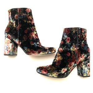 "Limelight ""Monique"" velvet floral block heel boots"